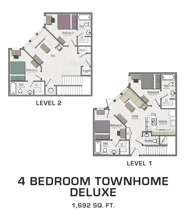 4 Bedroom Townhome Deluxe Hannah Lofts Townhomes