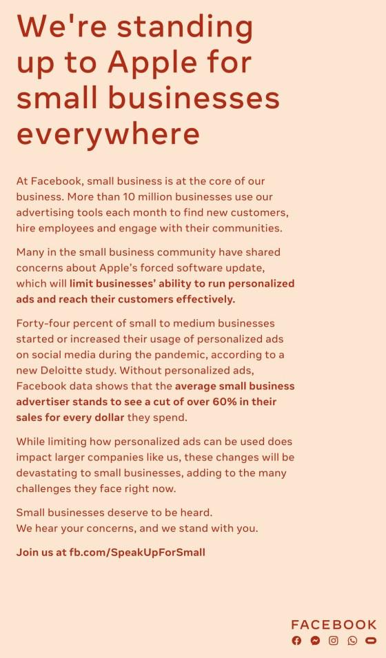 Facebook's announcement against Apple