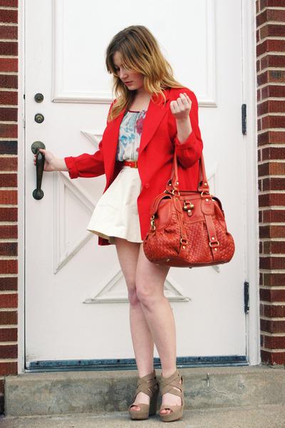 red vintage blazer - ivory Forever 21 skirt - teal Forever21 blouse - tan Dolce