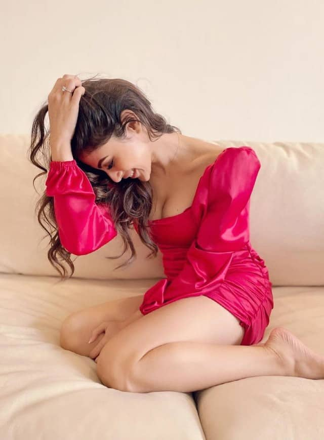 bollywood actress mouni roy looks gorgeous in red dress see hot pics