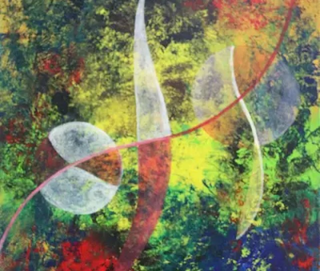 Balance Of Nature Signed Wave Motif Abstract Painting From Java