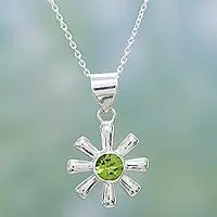 Peridot pendant necklace, 'Radiant Spring'