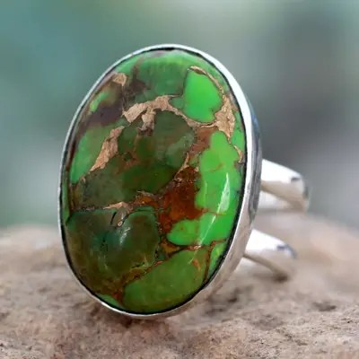 Green Composite Turquoise Sterling Silver Ring Green