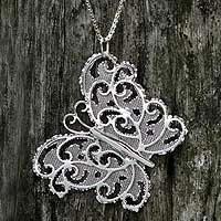 Long necklace, 'Gossamer Butterfly' (Brazil)
