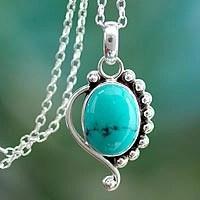 Turquoise pendant necklace, 'Indian Paisley' (India)