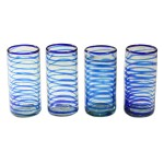 Unicef Uk Market Collectible Handblown Recycled Glass Drinkware Set Of 4 Whirlwind