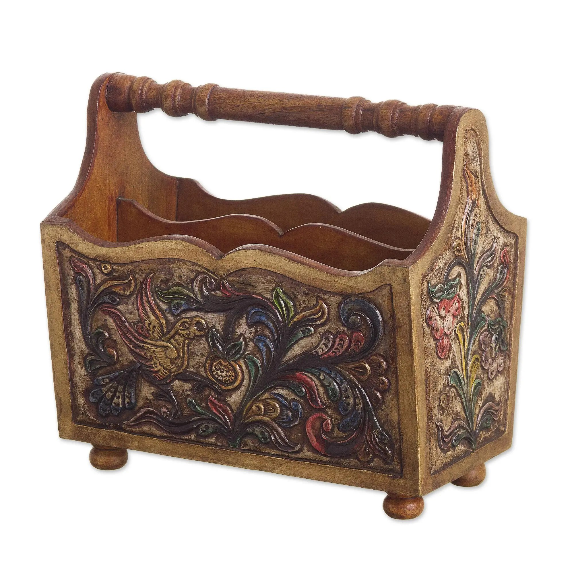 ornate mahogany and leather magazine rack from peru birds in flight