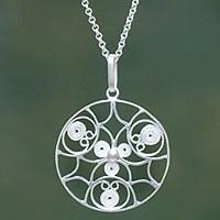 Sterling silver pendant necklace, 'Gossamer' (Peru)