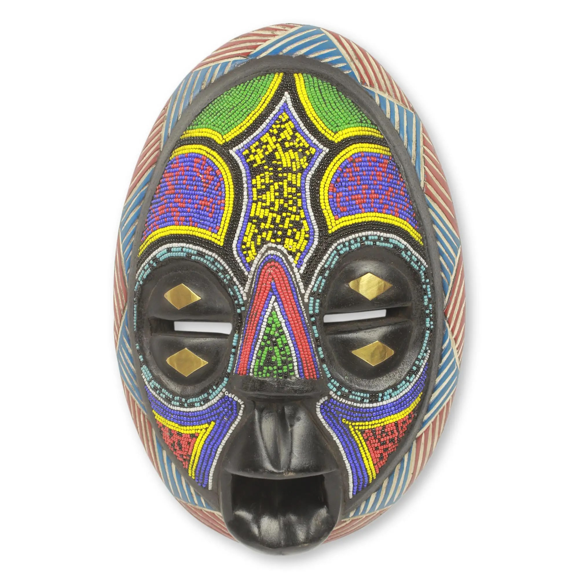 Unicef UK Market Beaded Black Wood African Mask With