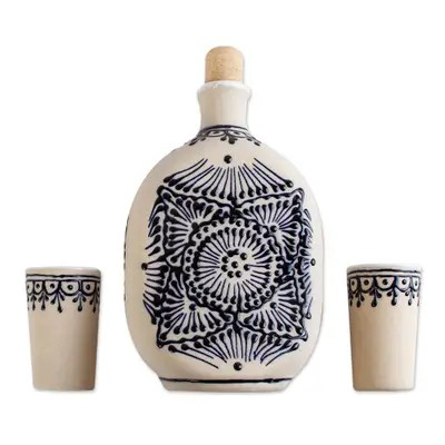 Ceramic tequila decanter set, 'Traditional Spirit' (set of 3) - Beige Talavera Style Tequila Decanter and Glasses (Set of 3) (image 2a)