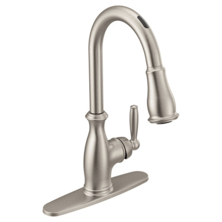 moen 7185evsrs brantford one handle pulldown kitchen faucet stainless steel voice activated