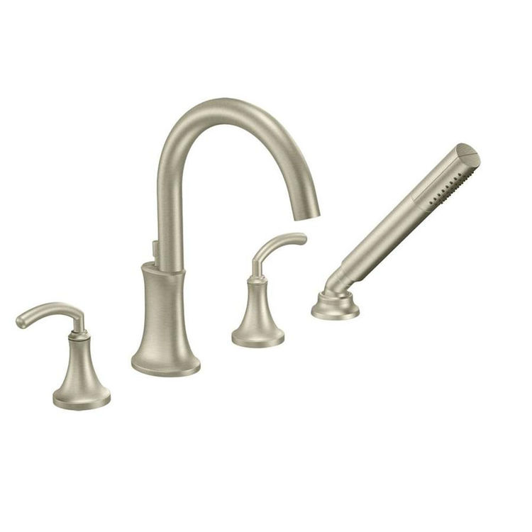 moen ts964bn icon two handle high arc roman tub faucet with hand shower brushed nickel