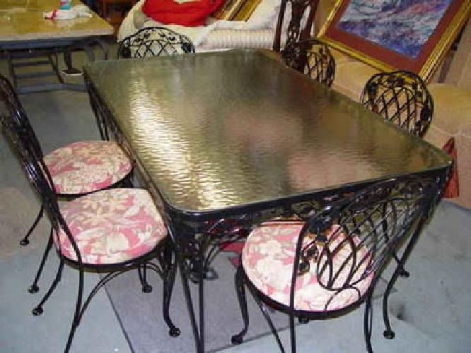 350 7 Piece Black Wrought Iron Patio Kitchen Sunroom Dining Table Amp Chairs For Sale In Conyers