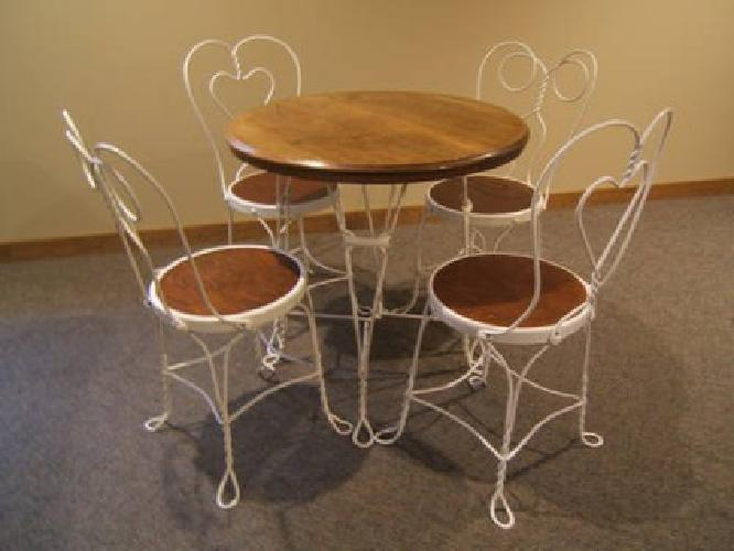 450 Antique Ice Cream Parlor Table And 4 Chairs For Sale