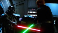 Darth Vader and Luke Skywalker's final battle in Return of the Jedi
