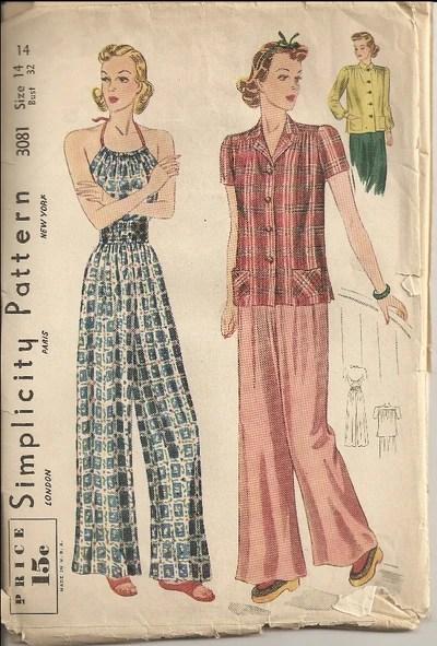 Simplicity 3081 (1939) Pajama ensemble