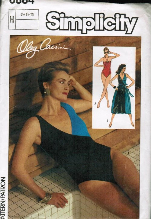 Simplicity 6884 by Oleg Cassini (1985) Swimsuit and wrap skirt