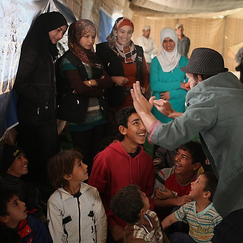 Syrian women and children at a refugee camp in Jordan (Photo: AP)