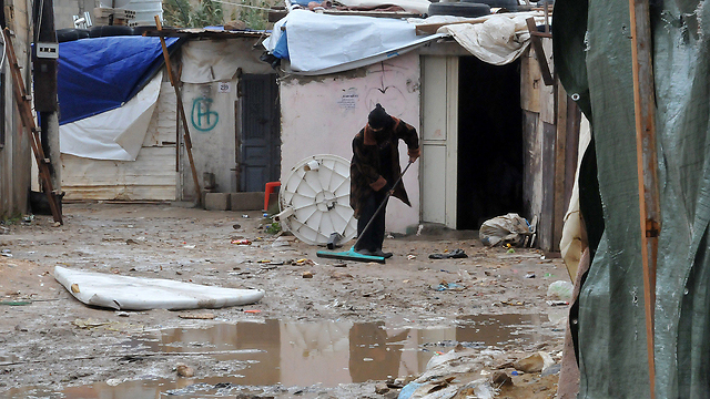 Storm-ravaged Lebanese refugee camp (Photo: AFP)