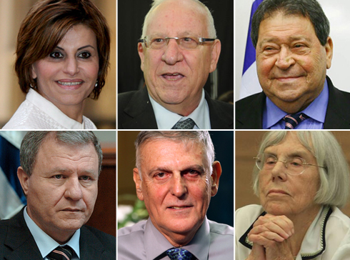 From left to right: Itizk, Rivlin, Ben-Eliezer, Sheetrit, Shectman, Doner (Photo: Sasson Tiram, Yaron Brenner, Gil Yohanan, Avishag Shaar-Yeshuv, Meir Azulay, EPA)