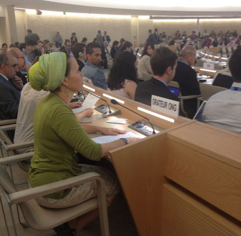 Rachel Frenkel addresses the UN Human Rights Council (Photo: Lior Zilberstein)