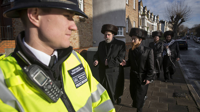 Police patrol the Stamford Hill area of London, which has a high concentration of Haredi Jews. (Photo: Getty Images)