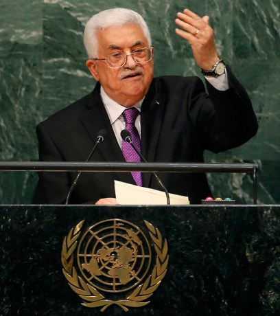 """Abbas at the UN. """"The Israeli occupation is destroying the climate in Palestine."""" (Photo: Reuters)"""