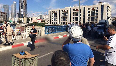 The scene of the attack in Tel Aviv