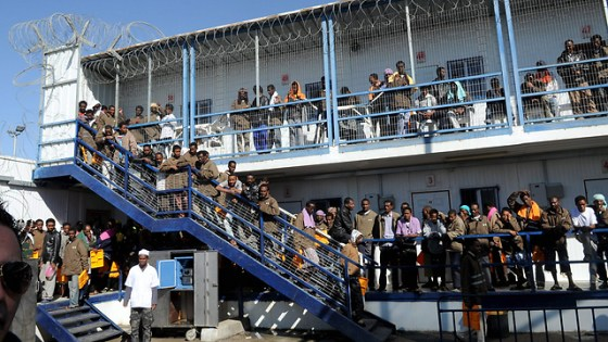 Detainees in the Saharonim detention facility (Photo: Haim Horenstein) (Photo: Haim Horenstein)