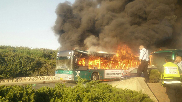 One of the buses on fire (Photo: Yarden Laytner)