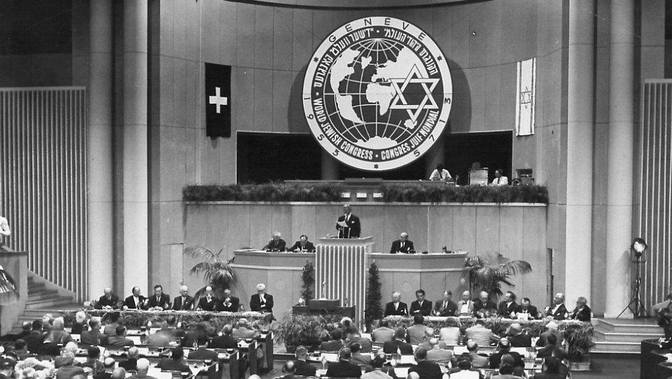 Der jüdische Weltkongress in Genf 1953.