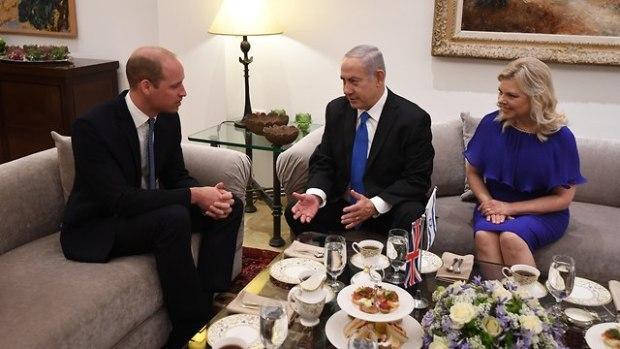 Принц Уильям с супругами Нетаниягу. Фото: Хаим Цах/ЛААМ (Photo: Haim Zach/GPO)
