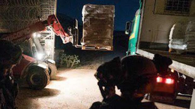 Груз для беженцев. Фото: пресс-служба ЦАХАЛа (Photo: IDF Spokesman's Office)