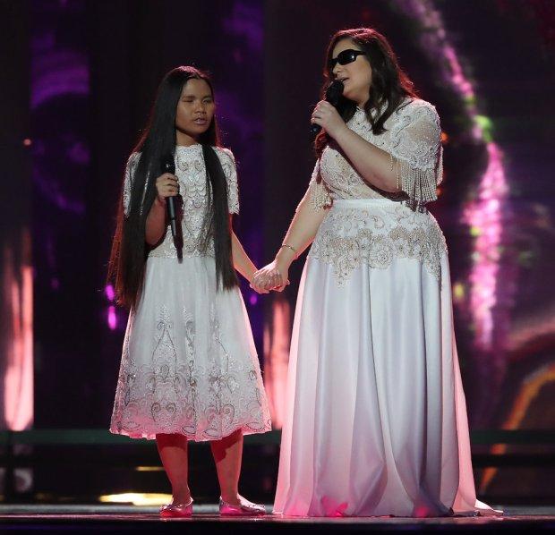 "Солистки группы ""Шалва"" на сцене Евровидения. Фото: Орен Ахарони"