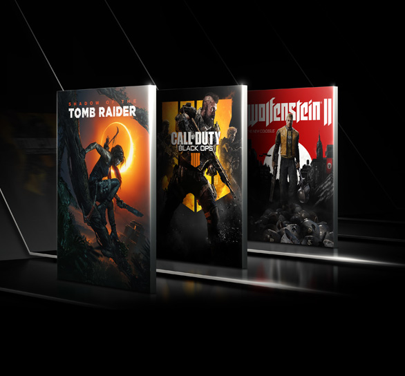 Tomb Raider Shadow of the Tomb Raider, Call of Duty Black Ops 4 and Wolfenstein product boxes lined, standing up facing angled to the left