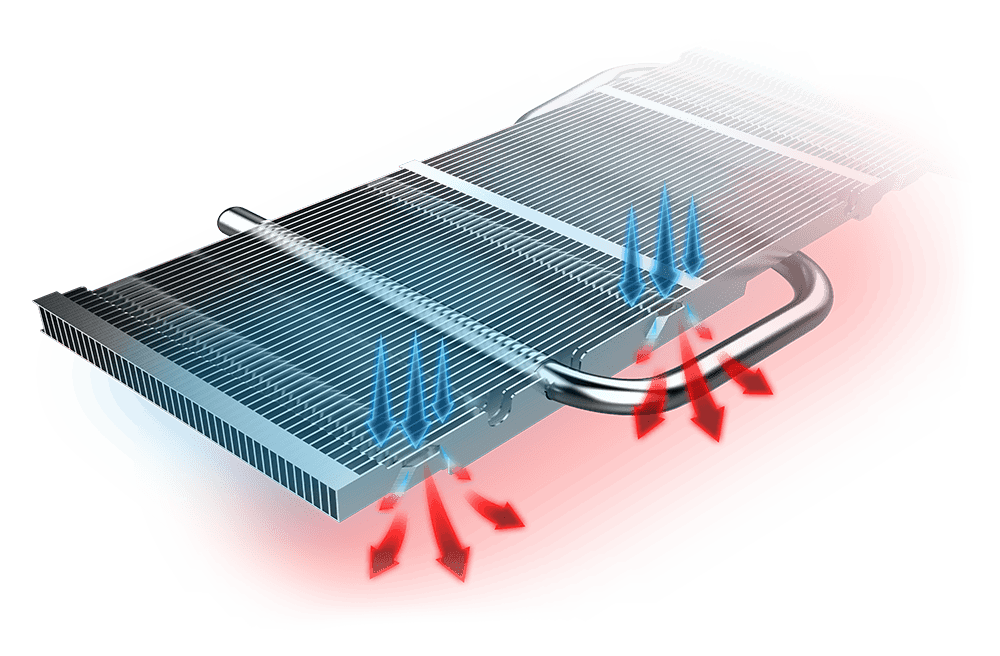 GTX 1650 GAMING X 4G's heatsink with blue and red graphics showing how cold air goes in and hot air comes out