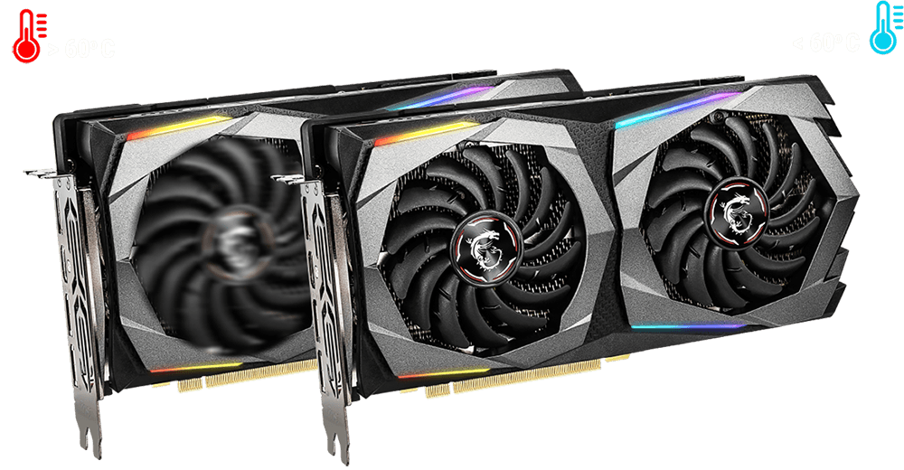 Two MSI GeForce RTX 2070 Graphics Cards Lying Horizontally, Angled to the Right with One in Front of the Other. The Back Graphics Card Has Its Fans Spinning To the top left of the graphics card is a red thermometer graphic with text that reads: greater than 60 degrees Celsius, and the top right has a blue thermometer graphic with text that reads: Less than 60 degrees Celsius