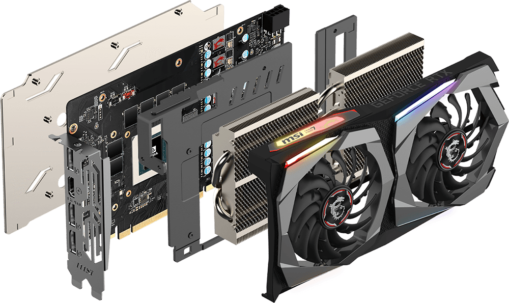 MSI GEForce RTX 2060 Graphics Card Angled Down to the Right with All Its Pieces Removed, Floating Behind One Another