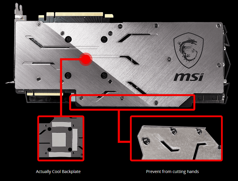 Back of the MSI RTX 2080 Super Gaming X TRIO Graphics Card with Graphics Pinpointing Closeups of the Cool Backpalte and Dulled Edges That Prevent from Cutting Your Hands