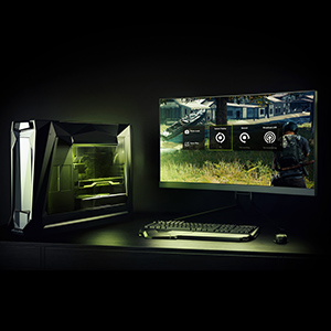 A Gaming Desktop PC, Keyboard, Mouse and Monitor Showing Gameplay and the GeForce Experience Overlay