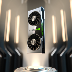 A RTX 2080 Graphics Card Standing Up Vertically, Floating in a Sci-Fi-Like Hall