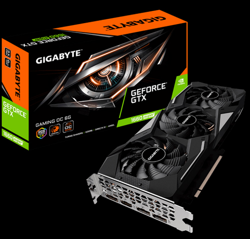 GeForce® GTX 1660 SUPER™ GAMING OC 6G Graphics Card and it's Product Box