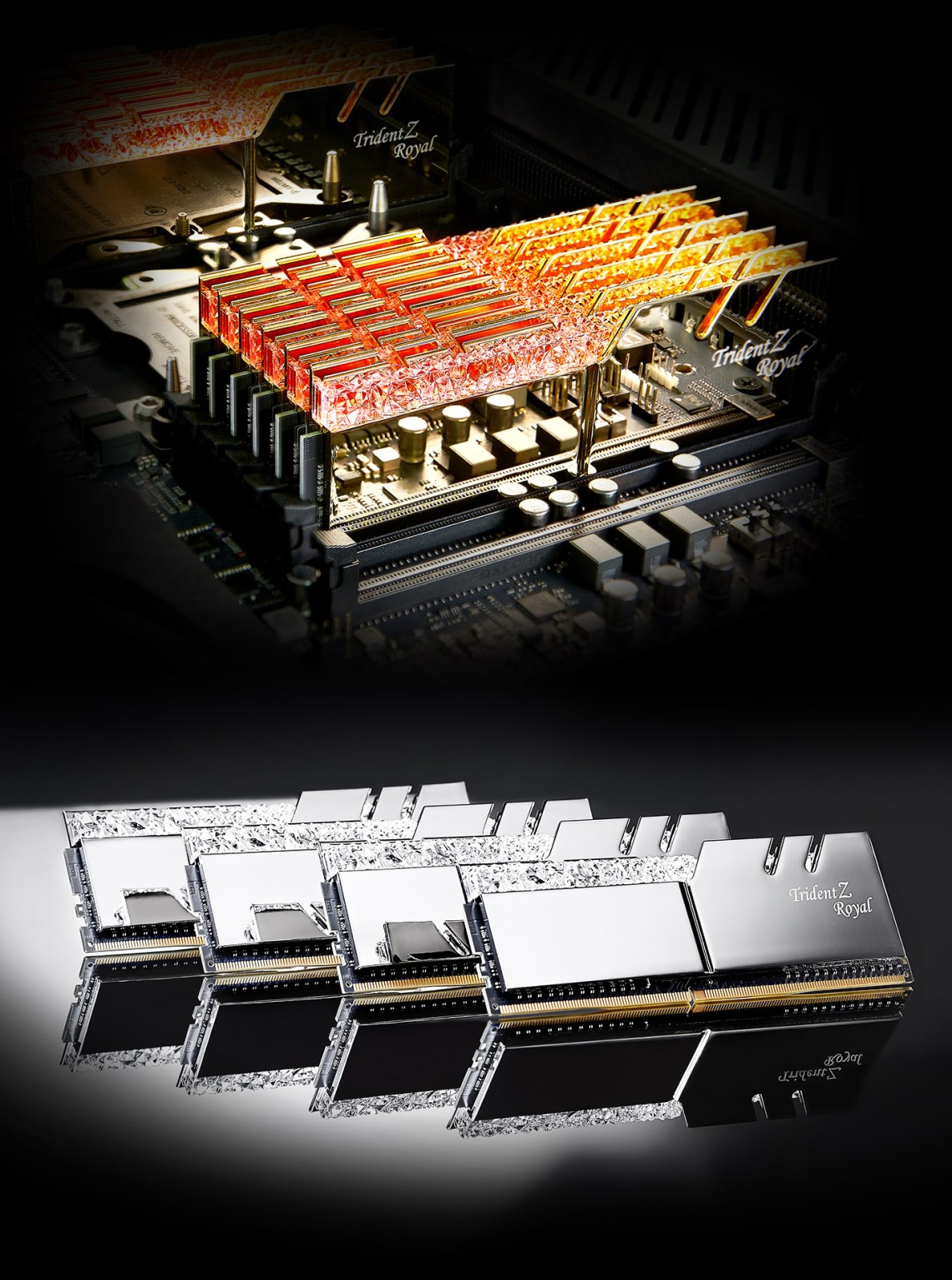 G.SKILL Trident Z Royal Series Compatibility Intel or AMD platforms and five Memory close-up