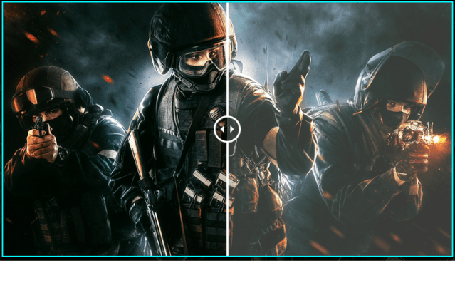 one image splited into two, showing different effect between msi monitors and others