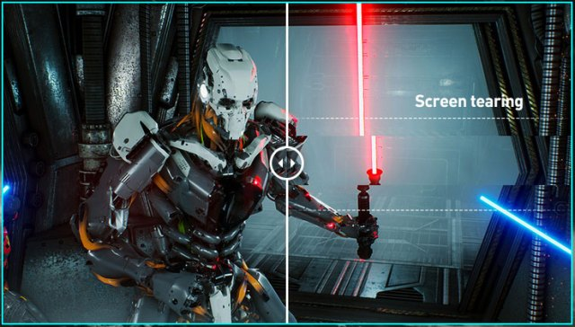 one image splited into two, showing different effect between screen tearing with and without