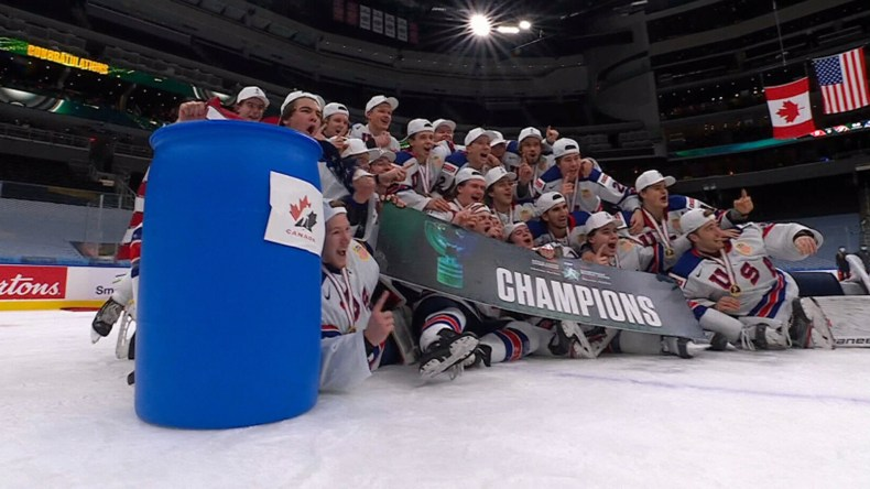 Team USA coach says team wasn't trying to disrespect Canada with barrel  celebration - Video - TSN