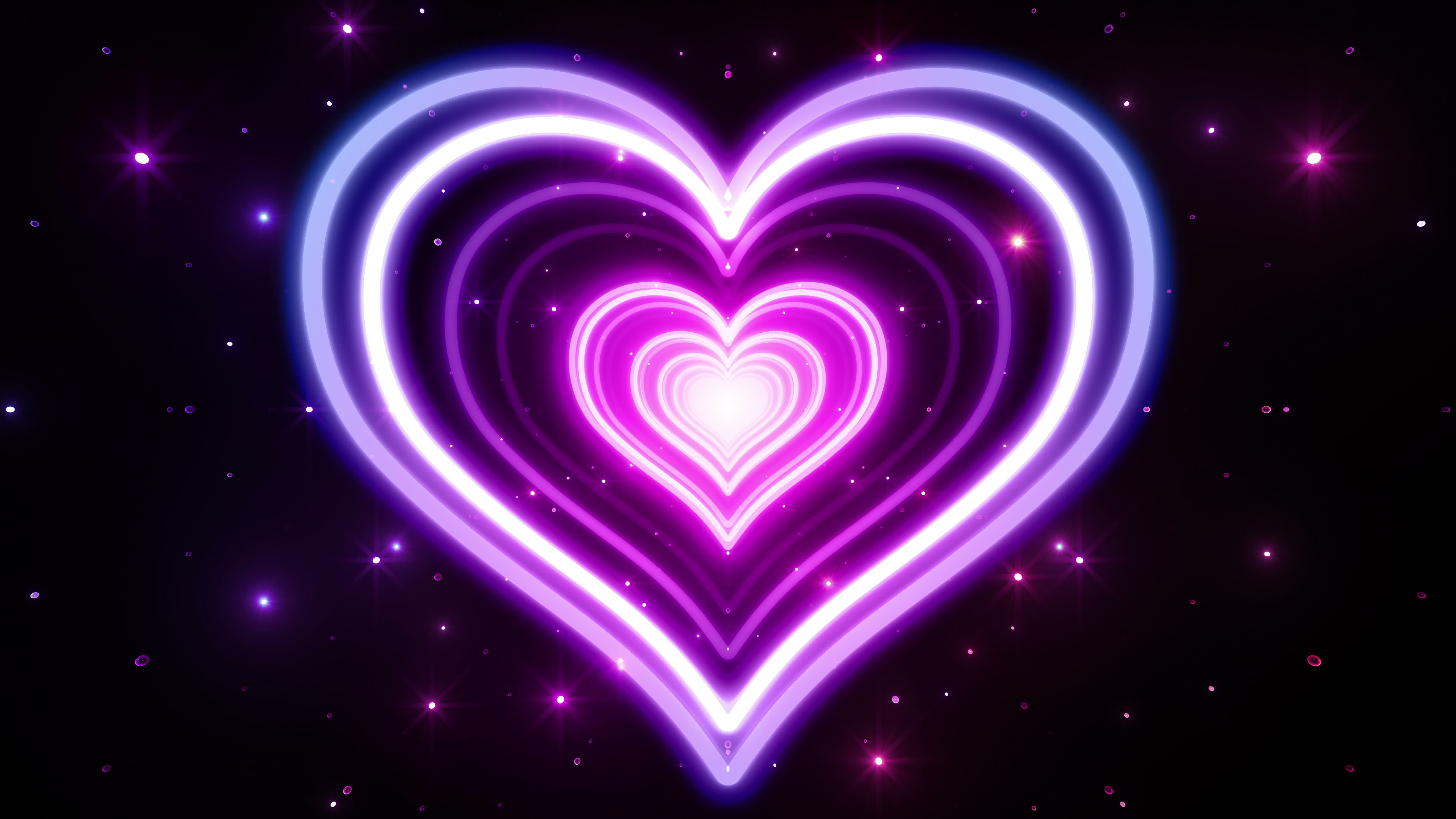 Purple Neon Heart Abstract 4k Ultra HD Wallpaper   Background Image     Wallpapers ID 694293