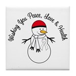 Christmas Snowman White Ribbon Tile Coaster
