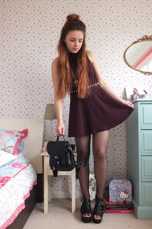 maroon skater Primark dress - black fishnet Pamela Mann tights