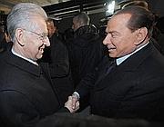 Monti e Berlusconi (Ansa)